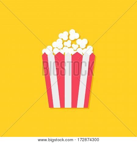 Popcorn icon. Cinema sign symbol in flat design style. Paper red white lined striped box package. Yellow background. Vector illustration