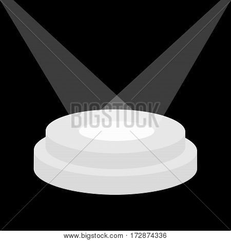 Round stage podium illuminated by spotlights. Empty pedestal for display. 3d realistic platform for design. Isolated. Black background. Template. Flat design. Vector illustration