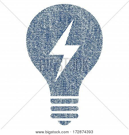 Electric Bulb vector textured icon for overlay watermark stamps. Blue jeans fabric vectorized texture. Symbol with dirty design. Blue ink rubber seal stamp with fiber textile structure.