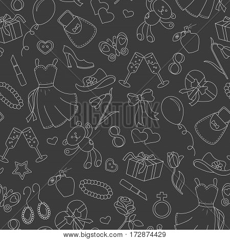 Seamless pattern on the theme of international women's day March 8 a simple outline icon on the topic of women a bright outline on a dark background