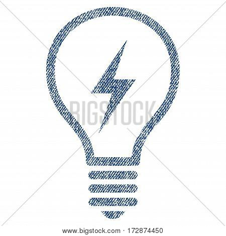 Electric Bulb vector textured icon for overlay watermark stamps. Blue jeans fabric vectorized texture. Symbol with unclean design. Blue ink rubber seal stamp with fiber textile structure.