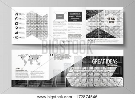 Set of business templates for tri fold square design brochures. Leaflet cover, abstract flat layout, easy editable vector. Abstract infinity background, 3d structure with rectangles forming illusion of depth and perspective.