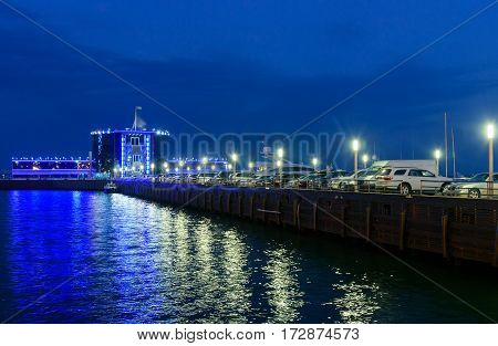 Night View Of Yacht Club In Caspian See At Seaside Boulevard