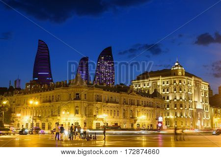 Night View Of City With Flame Towers. Baku