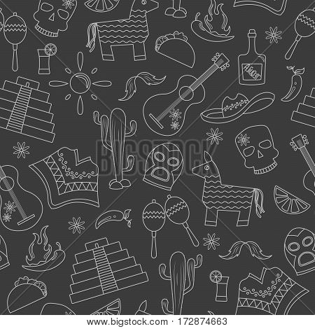 Seamless pattern on the theme of recreation in the country of Mexico contour icons on a dark background