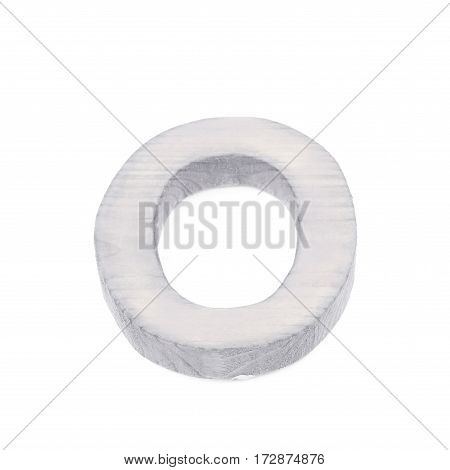 Single sawn wooden letter O symbol coated with paint isolated over the white background