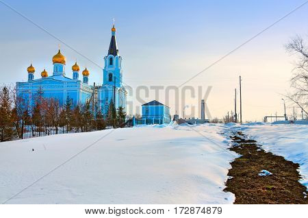 Church of the intercession in winter. Kamensk-Uralsky Russia.