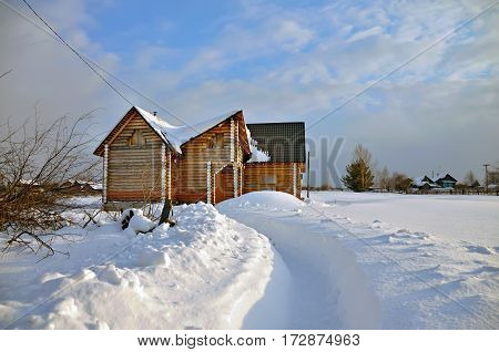 Construction of a new log house in a russian old believer village Visim. Ural region, Russia