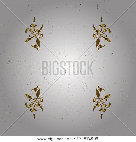 White background with golden elements. Golden pattern. Metal with floral pattern. Vector golden floral ornament brocade textile pattern.