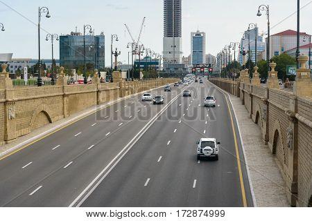 View Of Geydar Aliyev Avenue In Baku