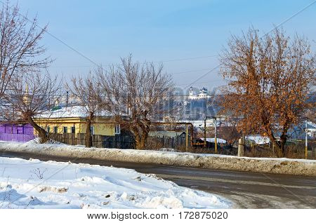 View of the Old Kamensk (street of the Red Eagles and the Spaso-Preobrazhensky Monastery). City Kamensk-Uralsky. Russia