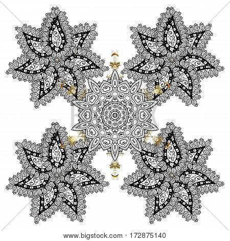 Vector Merry Christmas and Happy New Year lettering quote. White snowflakes on white background poster. Hand drawn design with abstract winter doodles.