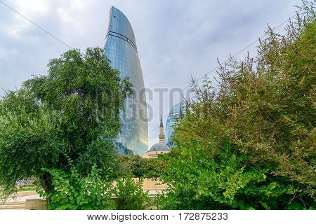 View On Flame Towers And Mosque Of The Martyrs In Baku