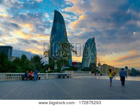 View On Flame Towers From Upland Park In Baku In The Evening