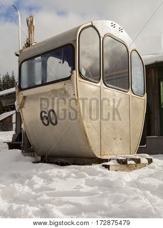 A deferred historic cable car from cableway to the Grosser Arber in Bavaria