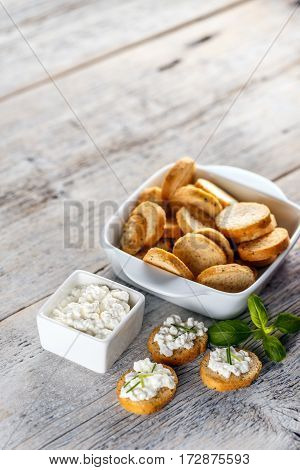 Mini Bruschetta With Cottage Cheese