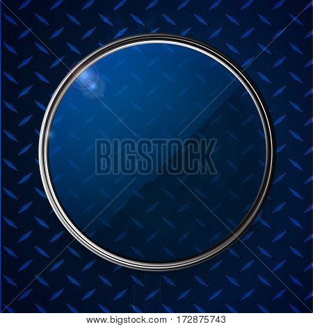 3D Illustration of Glass Circle with Metallic Border and Lens Flares Over Blue Metallic Diamond Plate