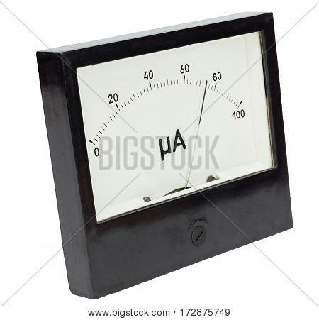 Black square analog ampermeter isolated on white background with 74 uA reading on scale.