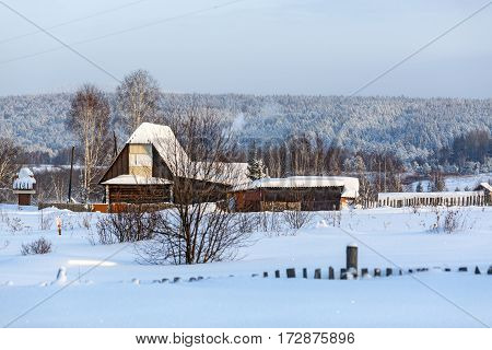 Winter in Russian old-believer village Visim situated in the low Middle Ural Mountains of Sverdlovsk region, Russia