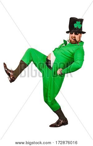 Photo of a man in a Leprechaun costume being silly and smoking a cigar.