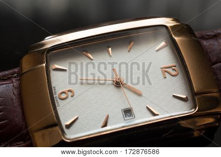 Golden Men's Wristwatch on A Black Background. Classic Wristwatch for Man with Brown Strap.