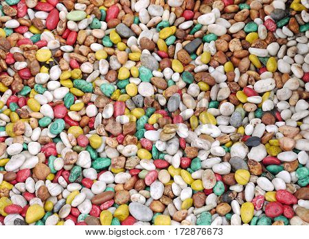 the colorful round small stone texture background