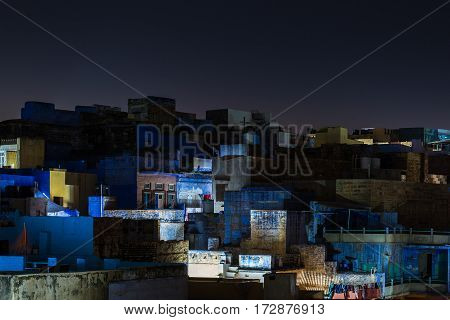 Glowing Cityscape At Jodhpur By Night. The Majestic Blue City Perched On Top. Scenic Travel Destinat