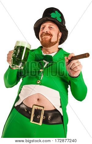 Photo of a man in a Leprechaun costume holding green beer and smoking a cigar.