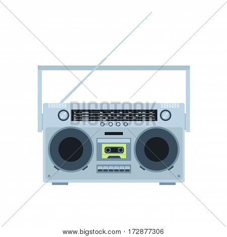 Magnetic tape cassette player. Vintage radio. Front view. Flat illustration