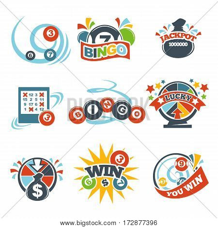 Bingo lotto lottery logo templates set. Vector icons of lucky jackpot win balls numbers, prize roulette and money bag