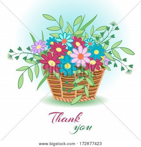 Cute greeting card for March 8, international women s day, birthday, Easter, summer or spring holiday. Vector illustration with flowers in a basket and the words Thank you .