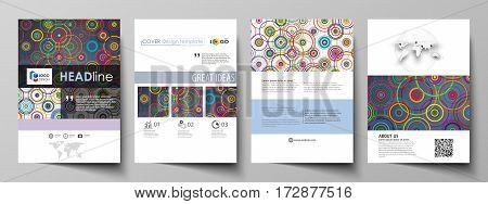 Business templates for brochure, magazine, flyer, booklet or annual report. Cover design template, easy editable vector, abstract flat layout in A4 size. Bright color background in minimalist style made from colorful circles.