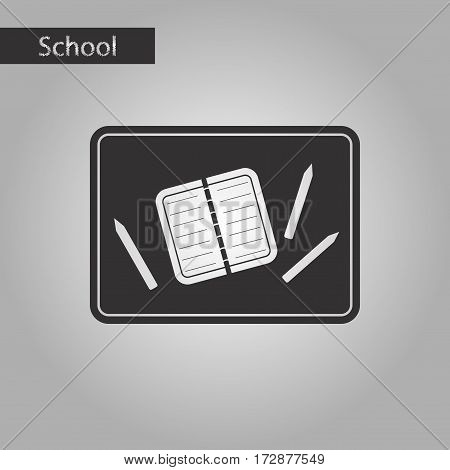 black and white style icon of notebook pencil table