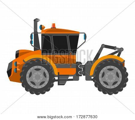 Bulldozer truck machine vector flat icon. Agriculture farming, building or construction industry machinery type