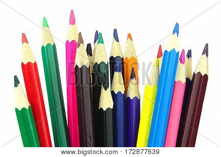 pencils on white background color drawing office