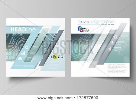 Business templates for square design brochure, magazine, flyer, booklet or annual report. Leaflet cover, abstract flat layout, easy editable vector. Technology background in geometric style made from circles.