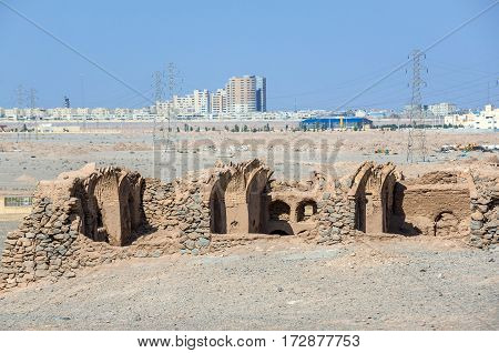 Ruins of ritual buildings next to Zoroastrian Towers of Silence in Yazd city Iran