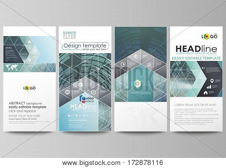 Flyers set, modern banners. Business templates. Cover design template, easy editable abstract vector layouts. Technology background in geometric style made from circles