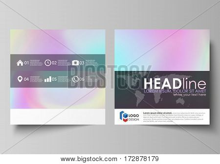 Business templates for square design brochure, magazine, flyer, booklet or annual report. Leaflet cover, abstract flat layout, easy editable vector. Hologram, background in pastel colors with holographic effect. Blurred colorful pattern, futuristic surrea