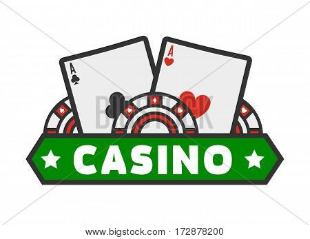 Casino colorful logotype with cards isolated on white. Vector illustration in flat design with gambling emblem of playing cards and special circles. Gambling label concept isolated on white.