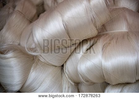 The first sleave of silk fibers after production.