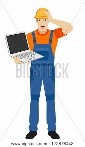 Builder with laptop grabbed his head. Full length portrait of builder in a flat style. Vector illustration.