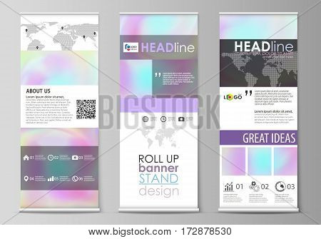 Set of roll up banner stands, flat design templates, abstract geometric style, modern business concept, corporate vertical vector flyers, flag layouts. Hologram, background in pastel colors with holographic effect. Blurred colorful pattern, futuristic sur