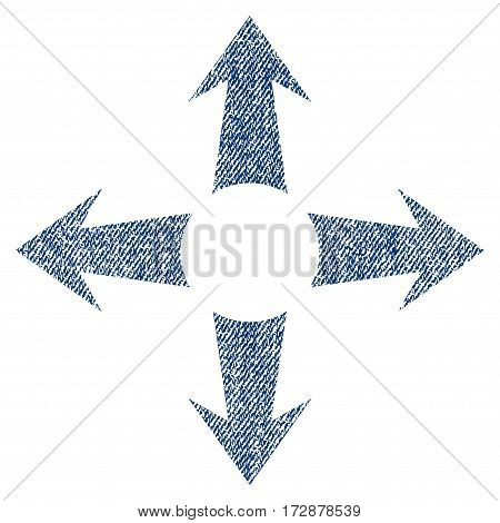 Expand Arrows vector textured icon for overlay watermark stamps. Blue jeans fabric vectorized texture. Symbol with unclean design. Blue ink rubber seal stamp with fiber textile structure.