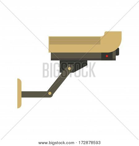 Security surveillance camera vector flat isolated icon. Side view mounted element