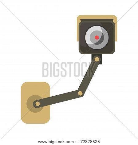 CCTV surveillance camera vector flat isolated icon for private security or traffic observance. Front view mounted element