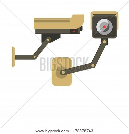 Day and Night wireless surveillance camera isolated on white. Vector illustration of two view of CCTV cameras in flat design. Technical wireless special equipment for watching people and things.