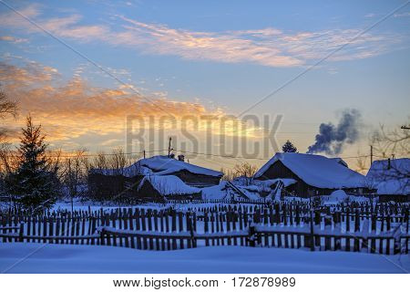 Russian old-believer village Visim in winter evening. Low Middle Ural Mountains of Sverdlovsk region Russia