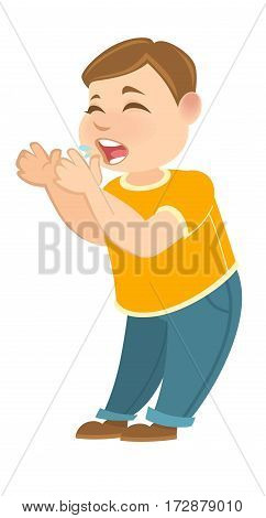 Kindergarten or schoolboy child with hands near face crying. Offended little toddler crying vector illustration in flat design. Boy teasing somebody isolated on white. Person joking making grimace.