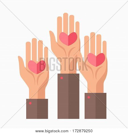 Blood donation charity symbol or logo of hands and hearts for volunteer center or mercy care organization. vector flat icon template for public fund